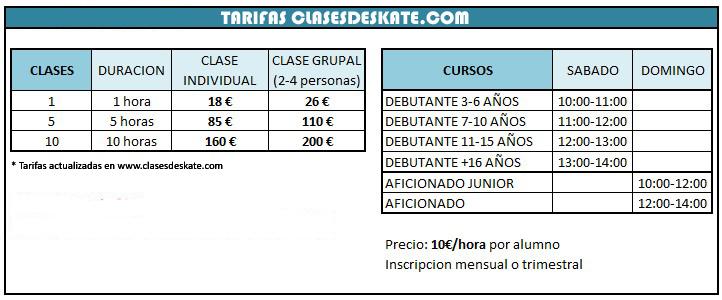 tarifas clases de skate madrid