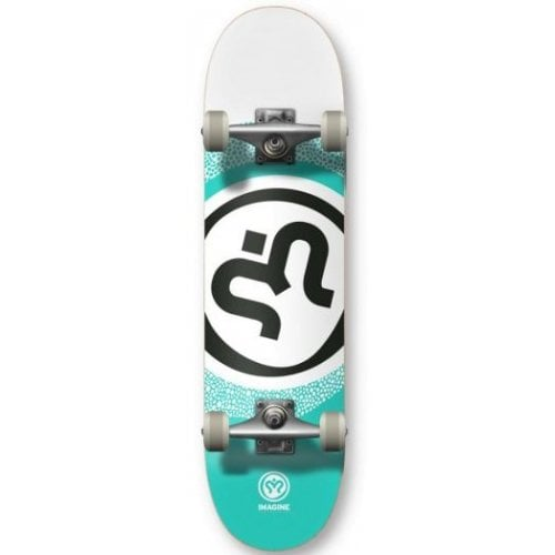 Skate Completo Imagine: Round White Teal 8.0