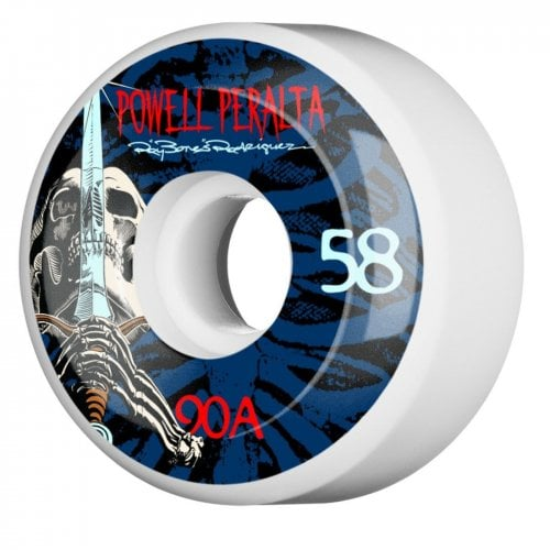 Ruedas Powell Peralta: Ray Rod Skull & Sword White/Blue 90A (58mm)
